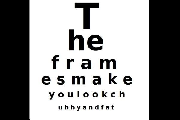 Can you read the letters in the chart with your other eye. Start at the top.