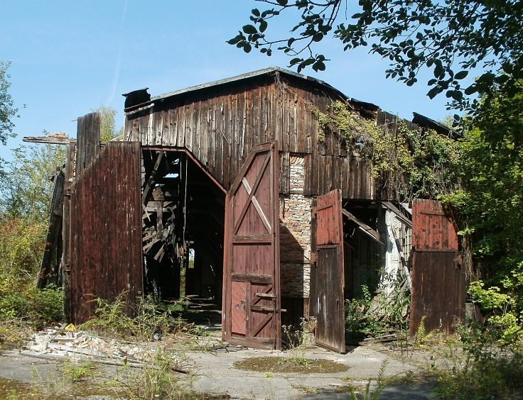 Old sheds awry with time, tilt and yield to beauty and charm. Lovely and wrinkled askew.